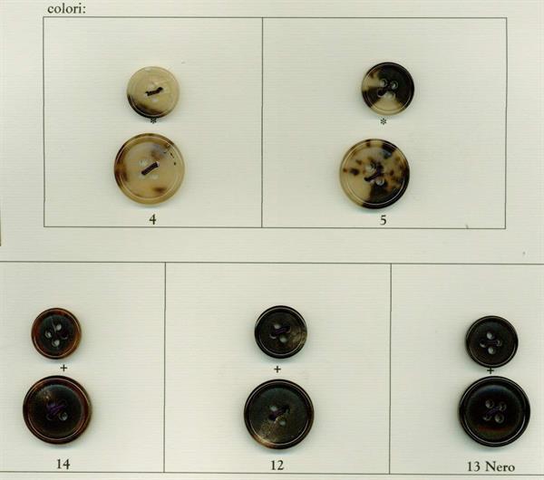 43 - Bottoni in vero Corno cartella colori dell'art.1032