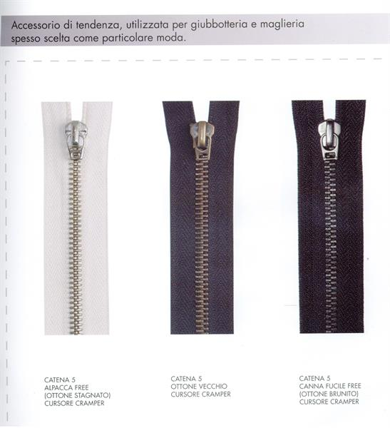 04 - Chiusure in metallo tranciato  catena 5, fisse, divisibili e comby